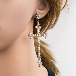 Abundance Sparkle Long-drop Crucifix Earrings