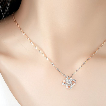 Infinity Rose Gold Sparkle Necklace