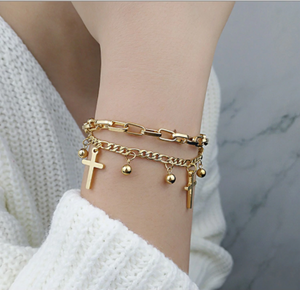 Abundance Gold Cross Bracelet