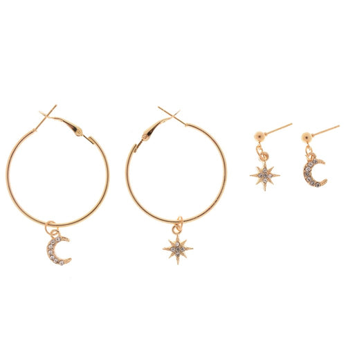Minimal Golden Earrings Set Star and Moon