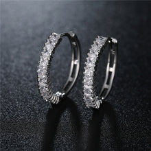 Load image into Gallery viewer, Bold Silver Single Sparkle Hoops