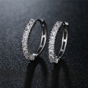 Bold Silver Single Sparkle Hoops