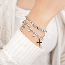 Load image into Gallery viewer, Abundance Silver Cross Bracelet
