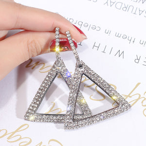 Bold Full Sparkle Triangle Earrings