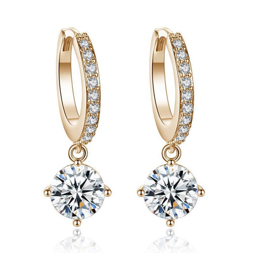 Chique golden short drop sparkle earrings