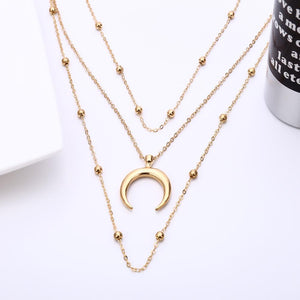 Single Moon Layered Necklace