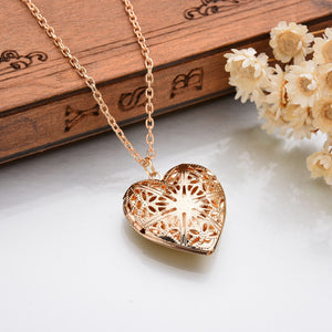 Bohemian Heart shaped Pocket Necklace Gold