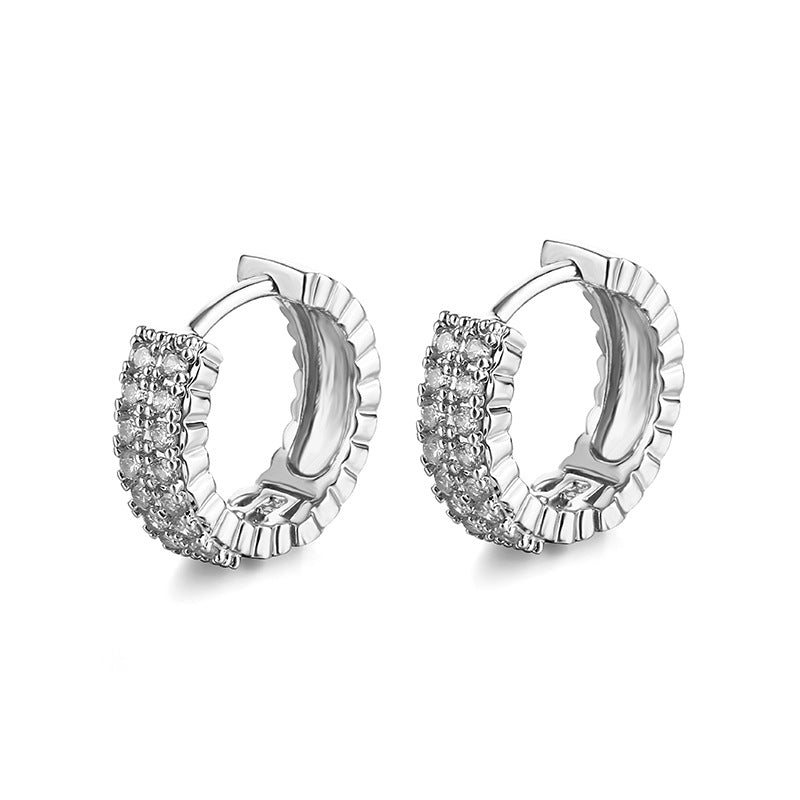 Bold Silver Classic Sparkle Hoops