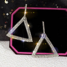 Load image into Gallery viewer, Bold Full Sparkle Triangle Earrings