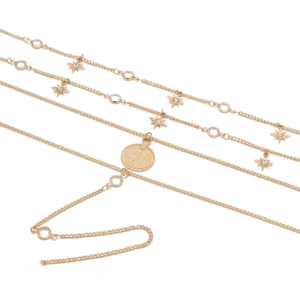 Long Coin Layered Necklace Gold