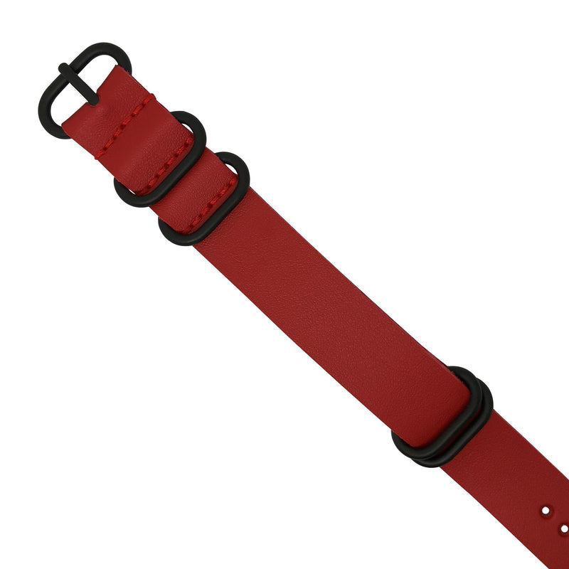 PU Leather Zulu Strap in Red with Black Buckle (20mm)