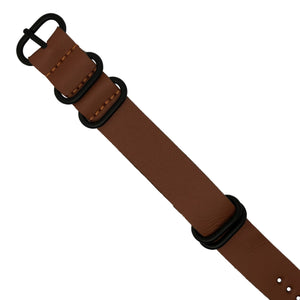 PU Leather Zulu Strap in Tan with Black Buckle (24mm)