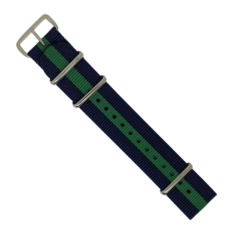 Premium Nato Strap in Navy Green with Polished Silver Buckle (22mm) - Nomadstore Singapore