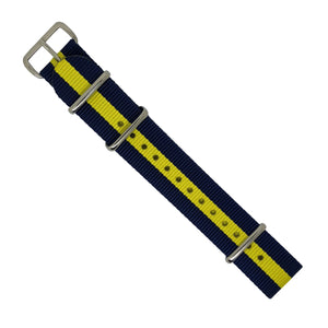 Premium Nato Strap in Navy Yellow with Polished Silver Buckle (20mm) - Nomadstore Singapore