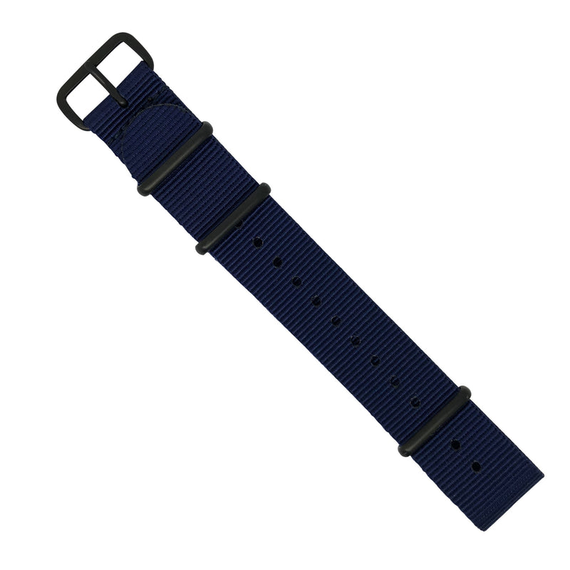 Premium Nato Strap in Navy with PVD Black Buckle (20mm) - Nomadstore Singapore