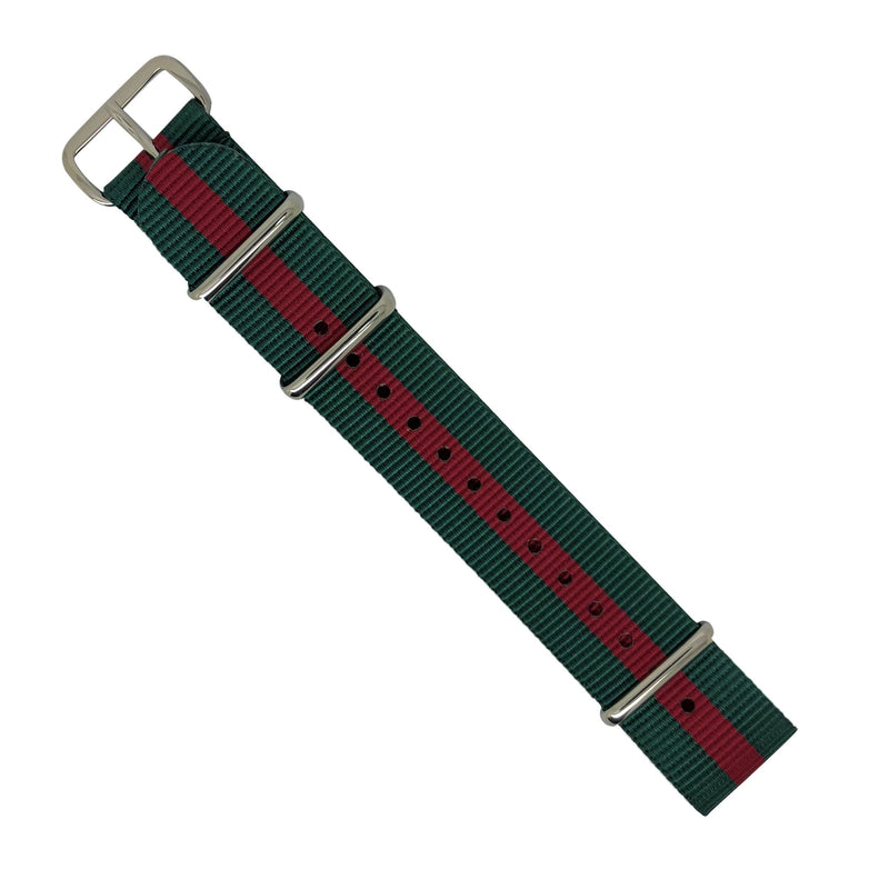 Premium Nato Strap in Green Red with Polished Silver Buckle (20mm) - Nomadstore Singapore