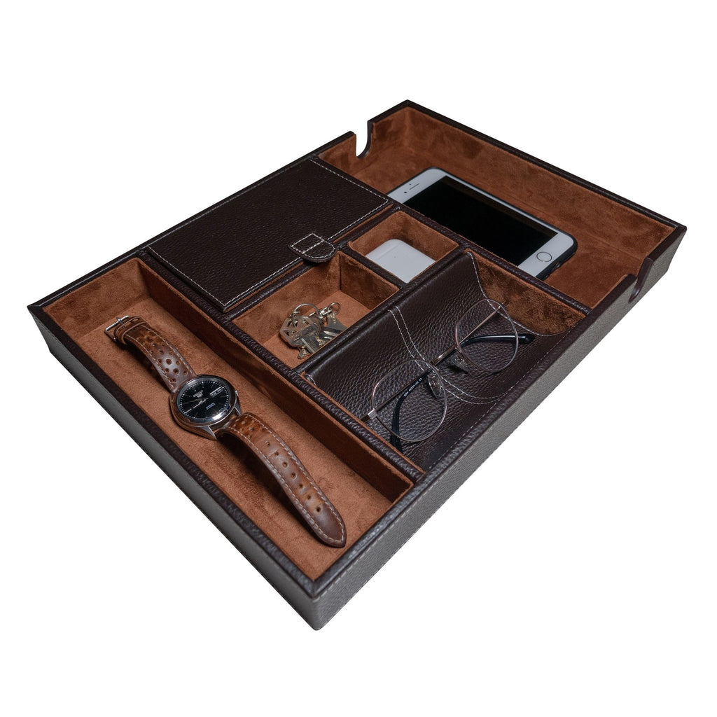 Leather Valet Tray in Brown