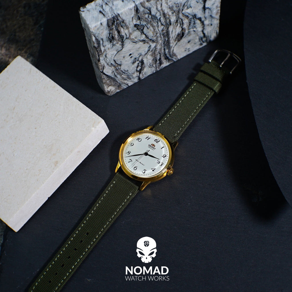 Canvas Watch Strap in Olive with Silver Buckle (24mm) - Nomad watch Works