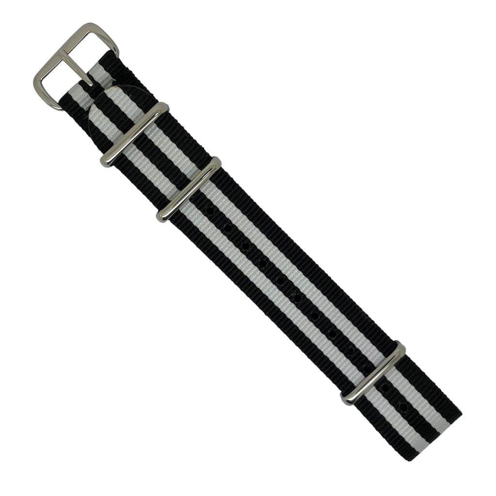 Premium Nato Strap in Black White Small Stripes with Polished Silver Buckle (20mm) - Nomadstore Singapore