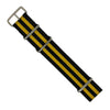 Premium Nato Strap in Black Yellow Small Stripes with Polished Silver Buckle (22mm) - Nomadstore Singapore