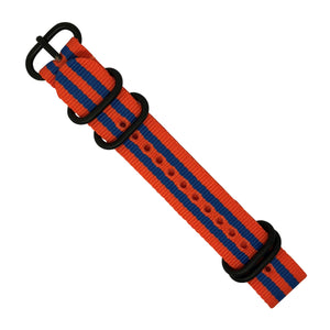 Nylon Zulu Strap in Orange Blue Small Stripes with Black Buckle (20mm)