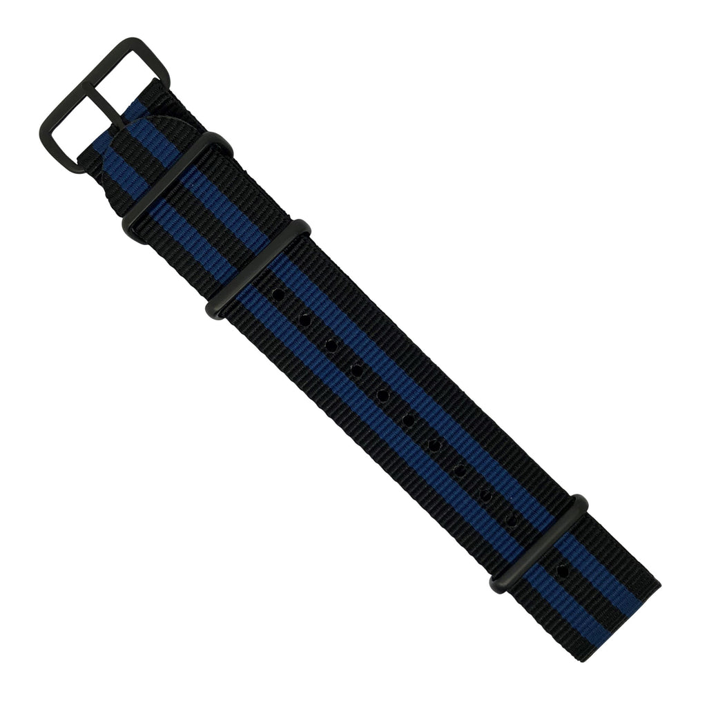 Premium Nato Strap in Black Blue Small Stripes with PVD Black Buckle (22mm)