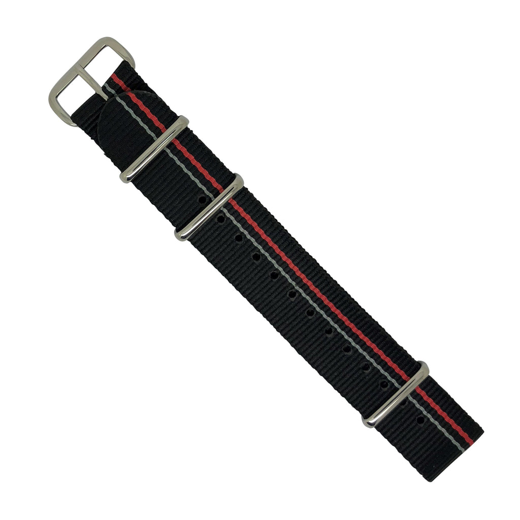 Premium Nato Strap in Black Blue Red Small Stripes with Polished Silver Buckle (20mm) - Nomadstore Singapore