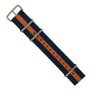 Premium Nato Strap in Navy Orange with Polished Silver Buckle (22mm) - Nomadstore Singapore