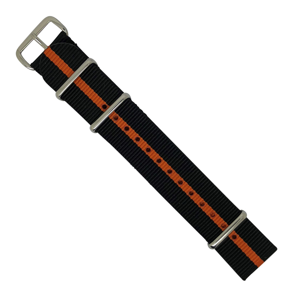 Premium Nato Strap in Black Orange with Polished Silver Buckle (18mm)