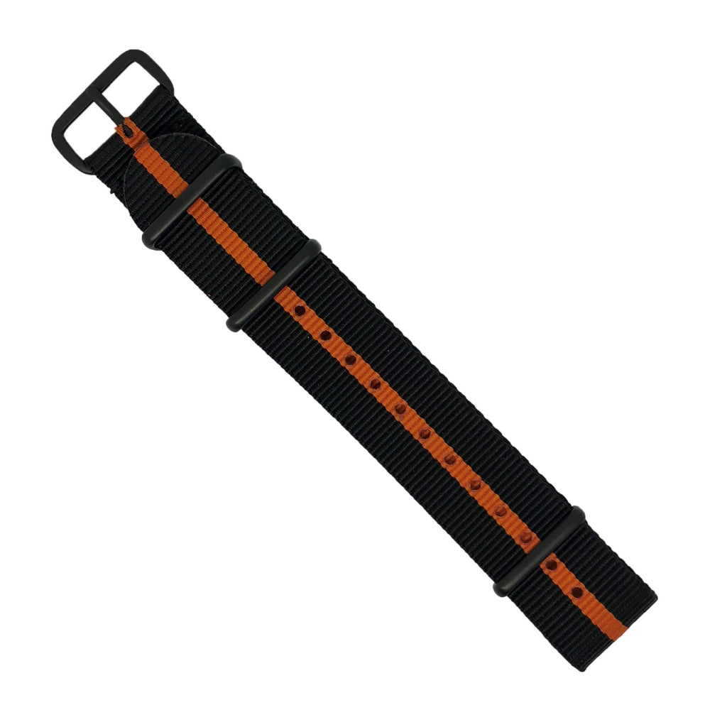 Premium Nato Strap in Black Orange with PVD Black Buckle (20mm) - Nomadstore Singapore