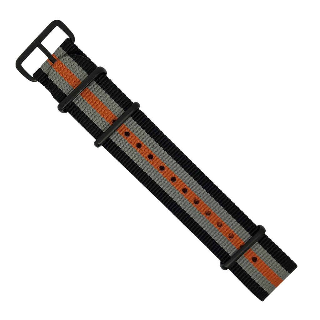 Premium Nato Strap in Black Grey Orange with PVD Black Buckle (22mm)