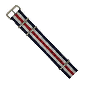 Premium Nato Strap in Regimental with Polished Silver Buckle (18mm)