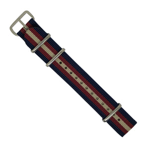 Premium Nato Strap in Navy Red Cream with Polished Silver Buckle (20mm) - Nomadstore Singapore