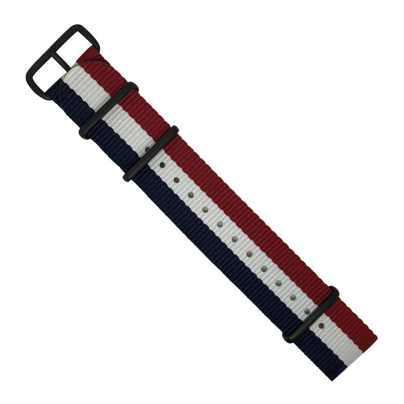 Premium Nato Strap in Navy White Red with PVD Black Buckle (22mm)