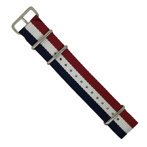 Premium Nato Strap in Navy White Red with Polished Silver Buckle (22mm) - Nomadstore Singapore