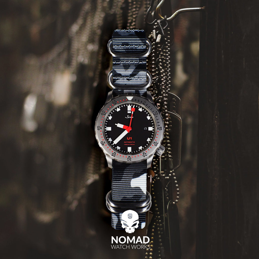 Heavy Duty Zulu Strap in Black Camo with Silver Buckle (20mm) - Nomad watch Works