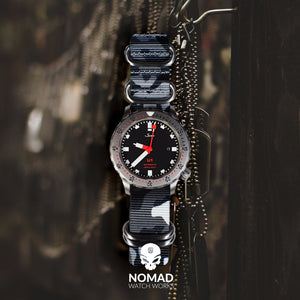 Heavy Duty Zulu Strap in Black Camo with Silver Buckle (22mm) - Nomad watch Works