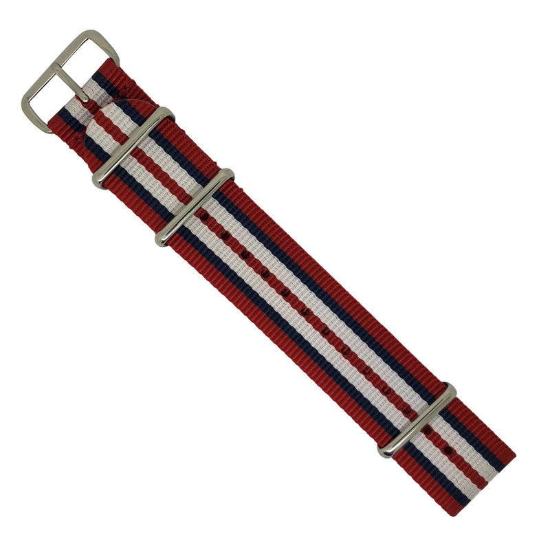 Premium Nato Strap in Red Navy White with Polished Silver Buckle (22mm)