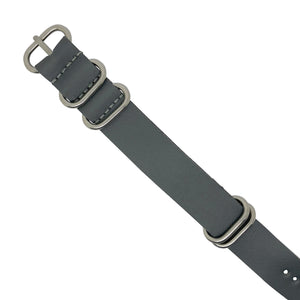 PU Leather Zulu Strap in Grey with Silver Buckle (24mm)