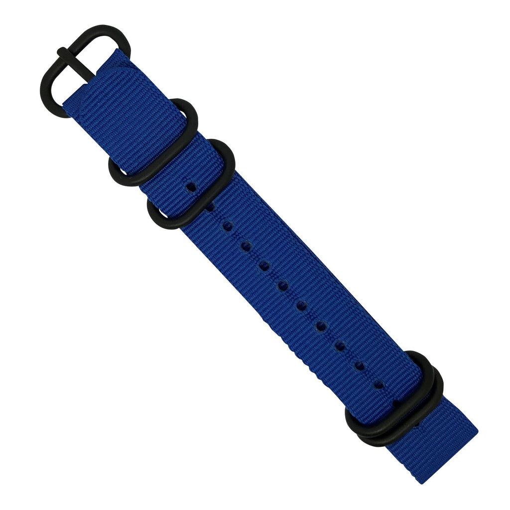 Nylon Zulu Strap in Blue with Black Buckle (24mm)