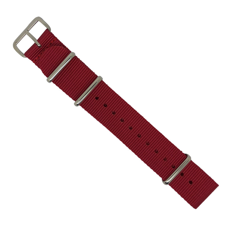 Premium Nato Strap in Red with Polished Silver Buckle (20mm) - Nomadstore Singapore