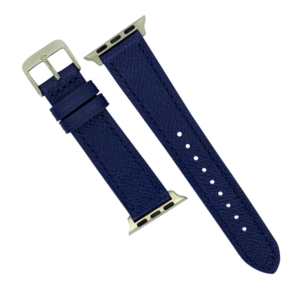 Emery Dress Epsom Leather Strap in Navy w/ Silver Buckle (38 & 40mm)