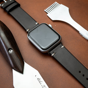 N2W Vintage Horween Leather Strap in Chromexcel® Black (38 & 40mm)