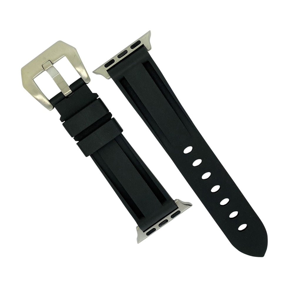 Apple Watch V3 Silicone Strap in Black w/ Silver Buckle (42 & 44mm)