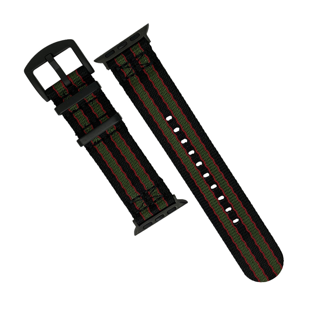 Apple Watch Seat Belt Nato Strap in Black Green Red (James Bond) with Black Buckle (42 & 44mm) - Nomad watch Works