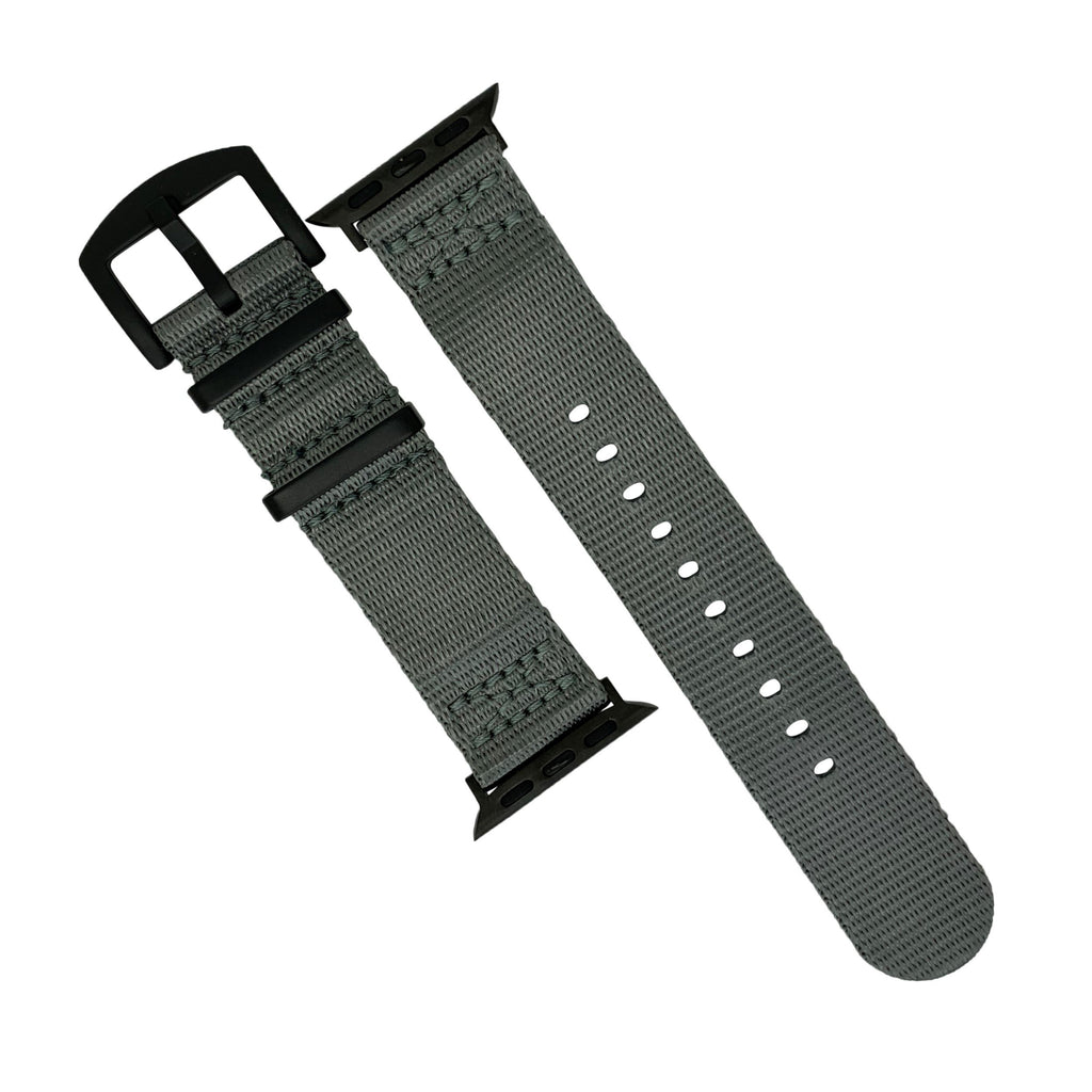 Apple Watch Seat Belt Nato Strap in Grey with Black Buckle (38 & 40mm) - Nomad watch Works