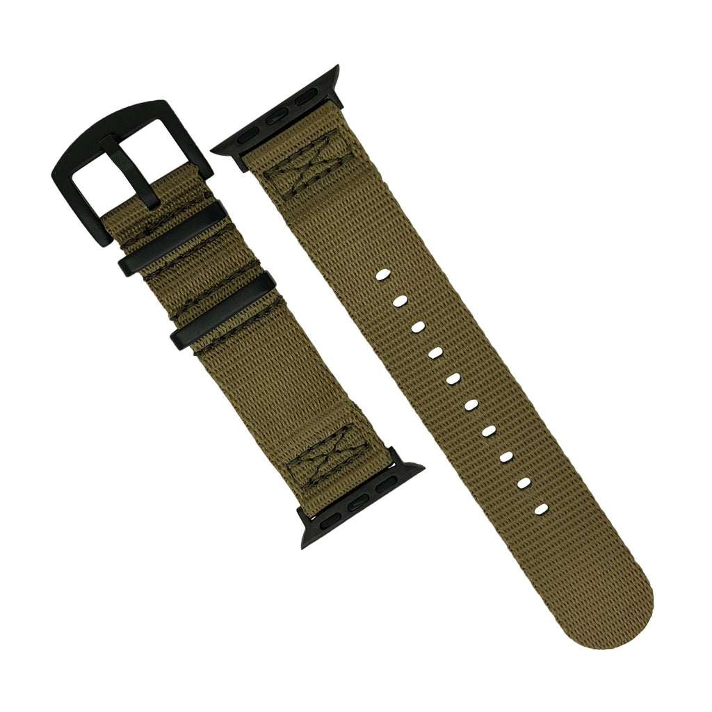 Apple Watch Seat Belt Nato Strap in Khaki with Black Buckle (42 & 44mm) - Nomad watch Works