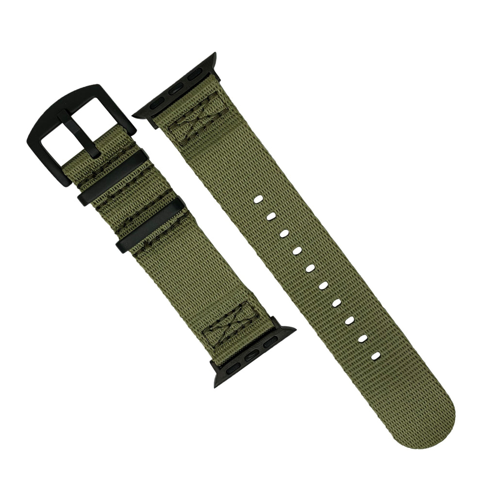 Apple Watch Seat Belt Nato Strap in Olive with Black Buckle (42 & 44mm) - Nomad watch Works
