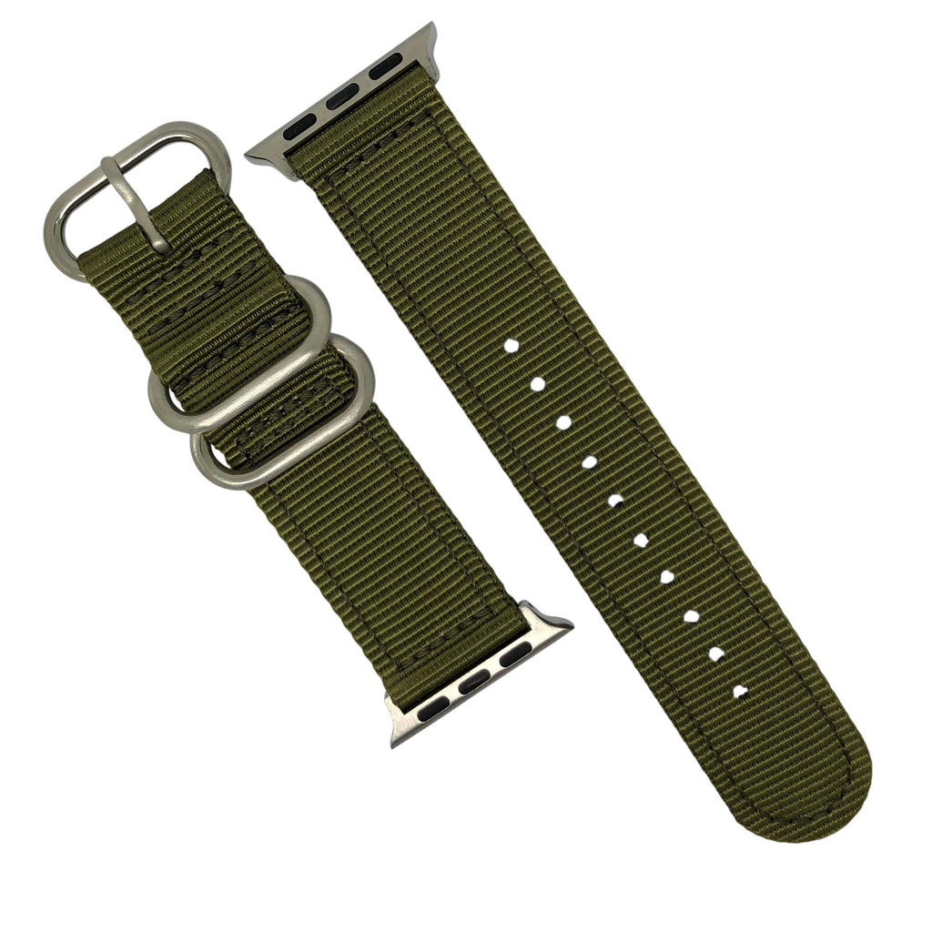 Apple Watch Nylon Zulu Strap in Olive with Silver Buckle (38 & 40mm) - Nomad watch Works