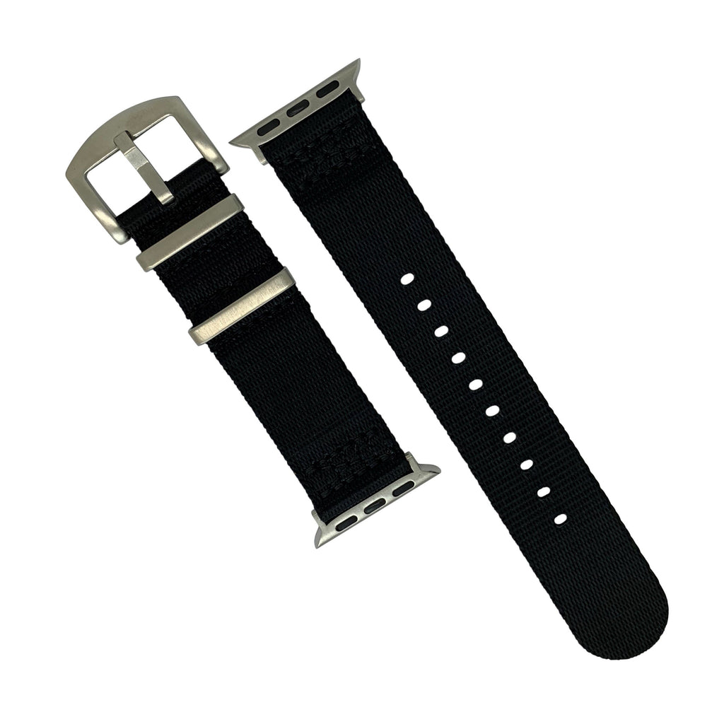 Apple Watch Seat Belt Nato Strap in Black with Silver Buckle (42 & 44mm) - Nomad watch Works